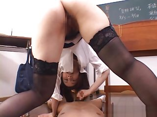 Shizuku Morino naughty Asian teacher gets cum on her face in the class