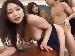 Schoolgirls in heats sharing cock while at class
