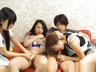 Sweet asians enjoying naughty threesome sex