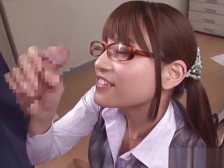 Ai Nikaidou Asian chick in office clothes gives footjob